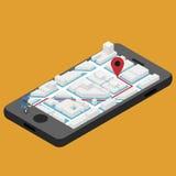 Navigation isométrique de ville de vecteur Image stock