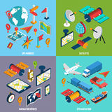 Navigation Isometric Icon Set stock illustration