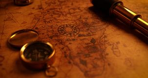 Navigation items on old world map stock video footage
