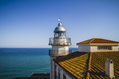 Navigation, Lighthouse penyscola views, beautiful city of Valenc Royalty Free Stock Photo