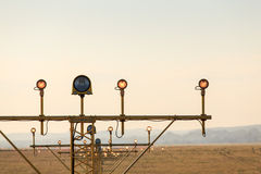 Navigation lights at the airport Stock Photo