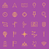 Navigation line color icons on violet background. Stock vector Stock Images