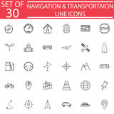 Navigation line icon set, Transport signs Stock Photo