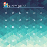 Navigation Line Icons. Navigation and location line icons set. Pixel perfect icons. Vector illustration. Geometric background royalty free illustration