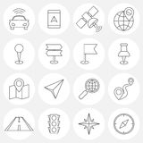 Navigation line icons Stock Photography