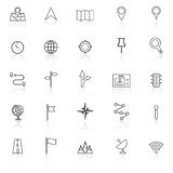 Navigation line icons with reflect on white background Royalty Free Stock Photo