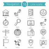 16 Navigation Line Icons. Set of 16 navigation line icons Royalty Free Stock Image