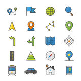 Navigation and location Color Icons Set Of Vector Illustration Style Colorful Flat Icon Stock Image