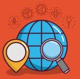 Navigation and location design. Global sphere with navigation and location related icons around over orange background colorful design vector illustraiton Stock Photos