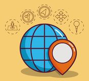 Navigation and location design. Global sphere with navigation and location related icons around over yellow background colorful design vector illustraiton Stock Photo
