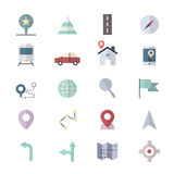 Navigation and location Icons Set Of Vector Illustration Style Colorful Flat Stock Photo