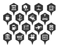Navigation, location and transportation icons. Vector Royalty Free Stock Photo