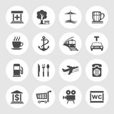 Navigation, location and transportation icons. Vector illustration Stock Photo