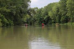 Navigation on Malý Dunaj (Little Danube) river Royalty Free Stock Images