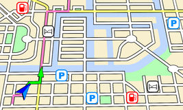 Navigation map. A generic navigation map with route and map symbols in a virtual city environment Royalty Free Stock Photography