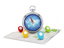 Navigation map with compass and markers Royalty Free Stock Photo