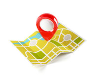 Navigation map with guide line Stock Image