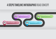 Navigation map infographic 4 steps timeline road concept. Navigation map infographic 4 steps timeline concept. Vector illustration winding road. Color swatches vector illustration