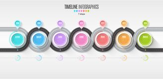 Navigation map infographic 7 steps timeline concept. Winding roa Royalty Free Stock Images