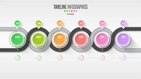 Navigation map infographic 6 steps timeline concept. Winding roa Royalty Free Stock Image