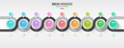 Navigation map infographic 9 steps timeline concept. Winding roa Stock Images