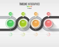 Navigation map infographic 4 steps timeline concept. Winding roa Stock Images