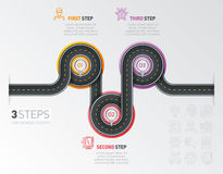 Navigation map infographic 3 steps timeline concept. Winding roa Royalty Free Stock Photos