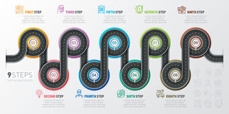 Navigation map infographic 9 steps timeline concept. Winding roa Stock Photo