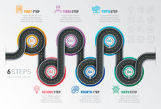 Navigation map infographic 6 steps timeline concept. Winding roa Royalty Free Stock Photography