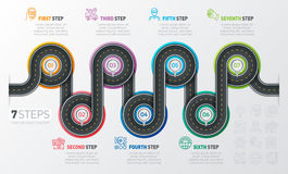 Navigation map infographic 7 steps timeline concept. Winding roa Stock Images
