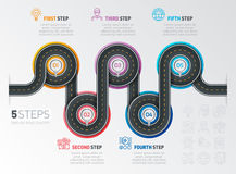 Navigation map infographic 5 steps timeline concept. Winding roa Stock Photo