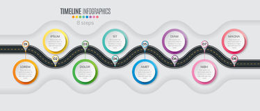 Navigation map infographic 8 steps timeline concept. Winding roa Royalty Free Stock Photo