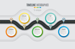 Navigation map infographic 5 steps timeline concept. Winding roa Stock Photos
