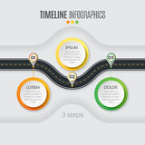Navigation map infographic 3 steps timeline concept. Winding roa Royalty Free Stock Image