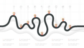 Navigation map infographic 9 steps timeline concept. Winding roa Royalty Free Stock Photos