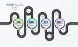 Navigation map infographic 4 steps timeline concept.   Stock Photos