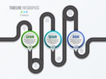 Navigation map infographic 3 steps timeline concept.   Stock Photo