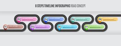 Navigation map infographic 8 steps timeline road concept. Navigation map infographic 8 steps timeline concept. Vector illustration winding road. Color swatches stock illustration