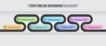 Navigation map infographic 7 steps timeline road concept. Navigation map infographic 7 steps timeline concept. Vector illustration winding road. Color swatches royalty free illustration