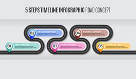 Navigation map infographic 5 steps timeline road concept. Navigation map infographic 5 steps timeline concept. Vector illustration winding road. Color swatches royalty free illustration