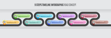 Navigation map infographic 9 steps timeline road concept. Navigation map infographic 9 steps timeline concept. Vector illustration winding road. Color swatches vector illustration