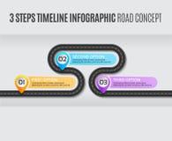Navigation map infographic 3 steps timeline road concept. Navigation map infographic 3 steps timeline concept. Vector illustration winding road. Color swatches vector illustration