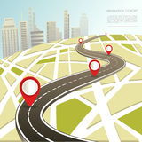 Navigation map with location pin vector car road route. Navigation map with location pins and car road route in city. Vector flat template for navigator Stock Image
