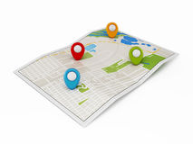 Navigation map with markers Royalty Free Stock Photography