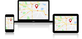Navigation map on on multiple devices Stock Photography