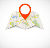 Navigation map with red pin Royalty Free Stock Photography