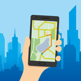 Navigation map on a smart phone. vector illustration