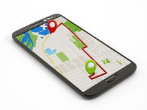 Navigation map on smartphone Royalty Free Stock Photos