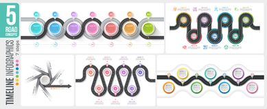 Navigation map 7 steps timeline infographic concepts. 5 winding. Roads. Vector illustration set Stock Photography