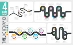 Navigation map 6 steps timeline infographic concepts. 4 winding. Roads. Vector illustration set Stock Photo